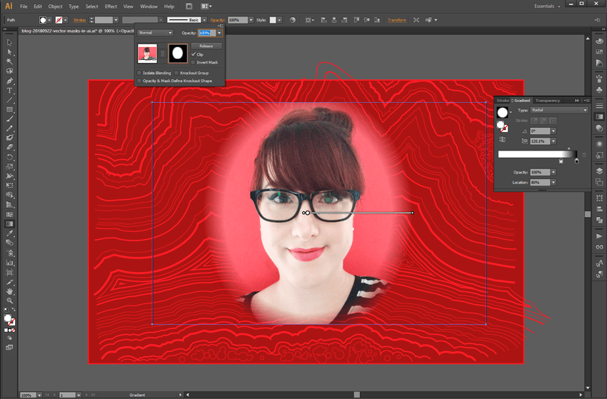 Screenshot of Illustrator CS6. Double-click the second thumbnail in the Opacity panel to create and edit an opacity mask, like this radial gradient for a vignette effect.