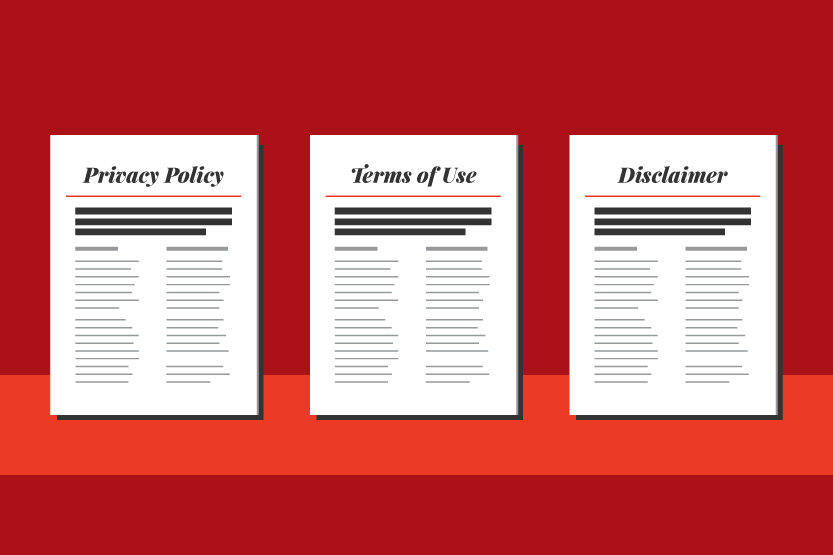 Graphic. Three legal documents stand against a red background: a privacy policy, terms of use, and disclaimer.