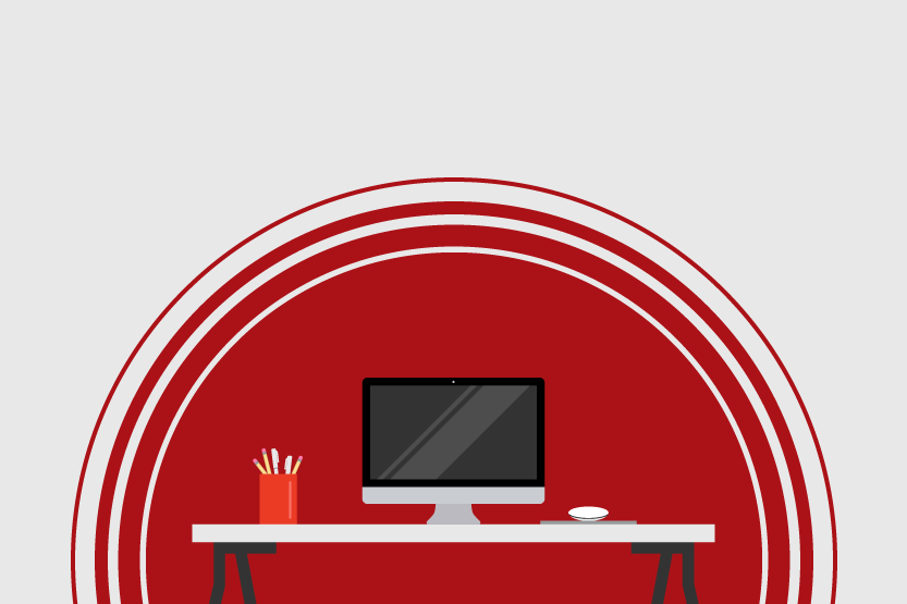 Graphic of a desktop computer looking small inside spacious white room.