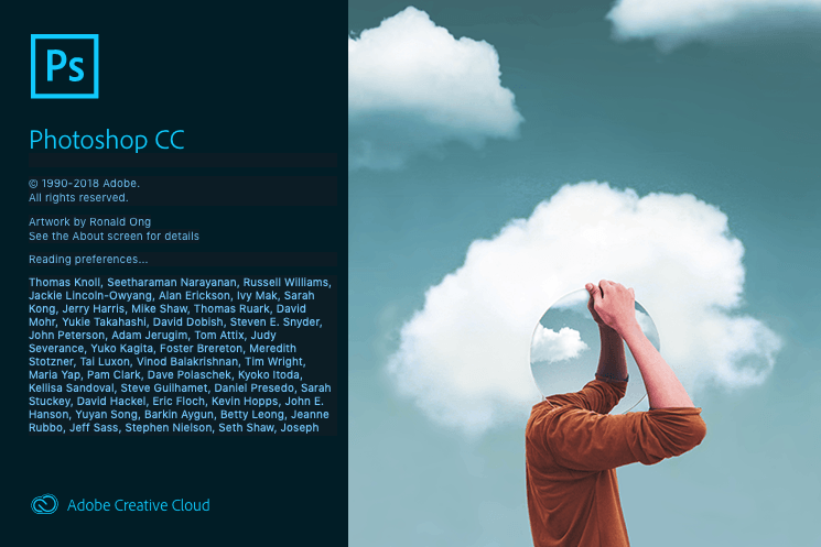 Screenshot. Adobe Photoshop Creative Cloud splash screen.