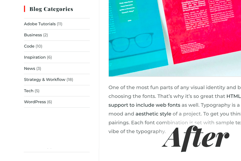 Updated screenshot after excluding CPT categories from the WordPress Categories sidebar widget.