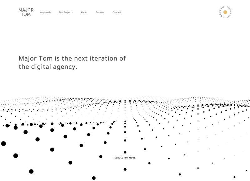 Screenshot of Major Tom website, an example of the minimalist graphic design trend.
