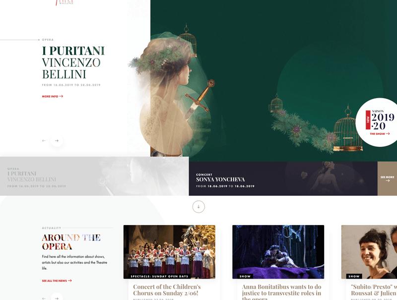 Screenshot of Opera Royal de Wellione website, an example of the broken grid graphic design trend.