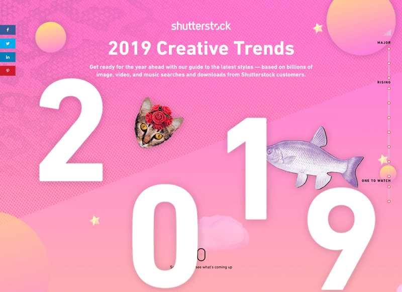 Screenshot of Shutterstock's 2019 Creative Trends infographic website, an example of the maximalist graphic design trend.