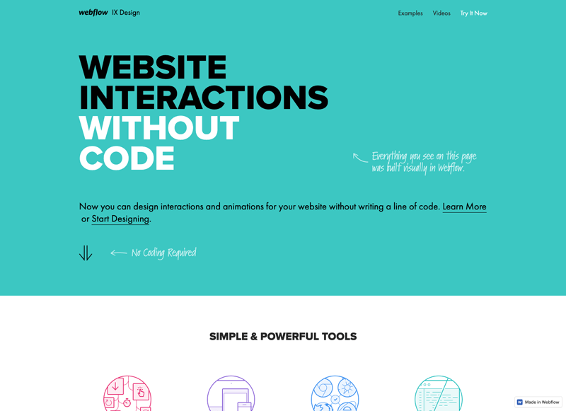 Screenshot of Webflow website, an example of the flat design trend.