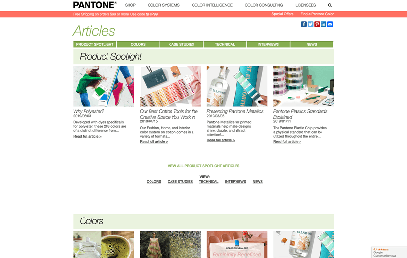 Screenshot. I stay current on design trends in color by reading Pantone articles.
