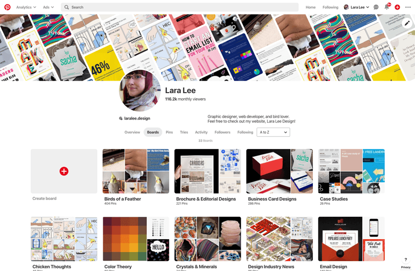 Screenshot. Pinterest is a great source of creative inspiration and has a strong designer community as well.
