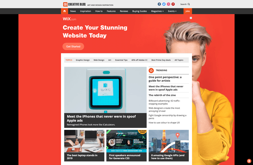 Screenshot. Creative Bloq offers several interesting reads to stay current on design trends and industry news.