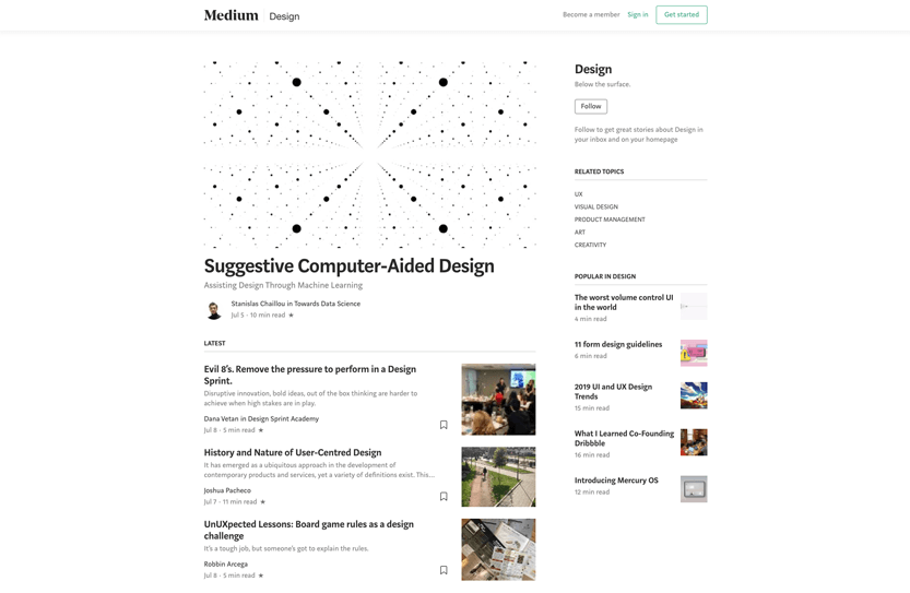Screenshot. Medium offers several interesting reads to stay current on design trends and industry news.