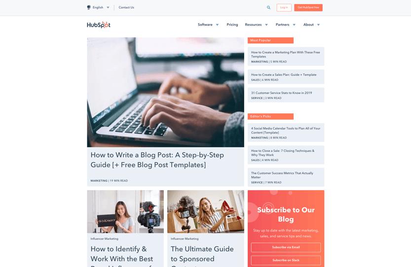 Screenshot. I visit the HubSpot blog to stay current on design trends in digital marketing, social media, and email design.