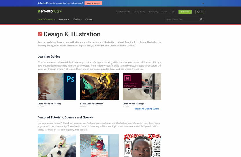Screenshot. Envato Tuts+ has some of the best tutorials in a variety of design subjects.