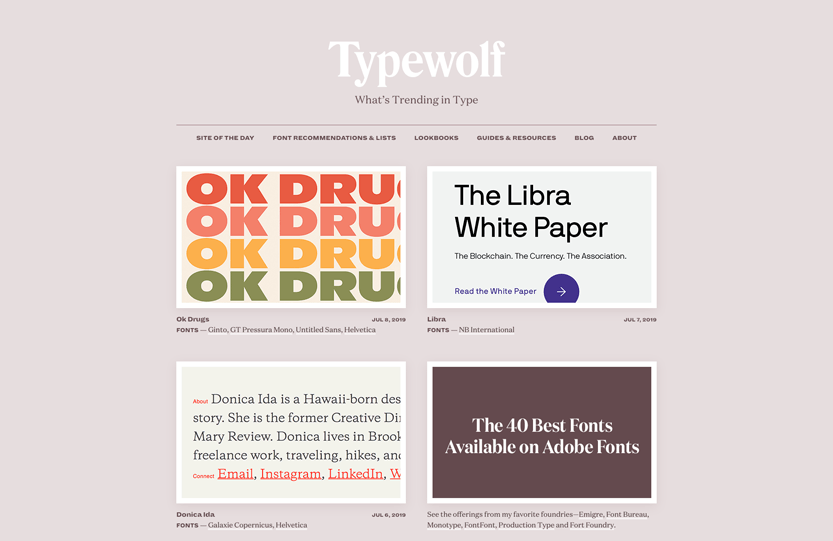 Screenshot. Check out Typewolf to stay current on design trends in typography.