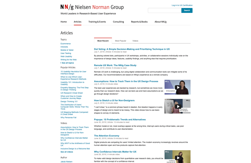 Screenshot. Nielson Norman Group (NN/g) is an excellent, research-backed resource on current design trends in UI/UX design.
