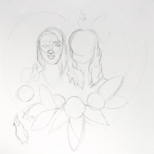 Original sketch for the family illustration.