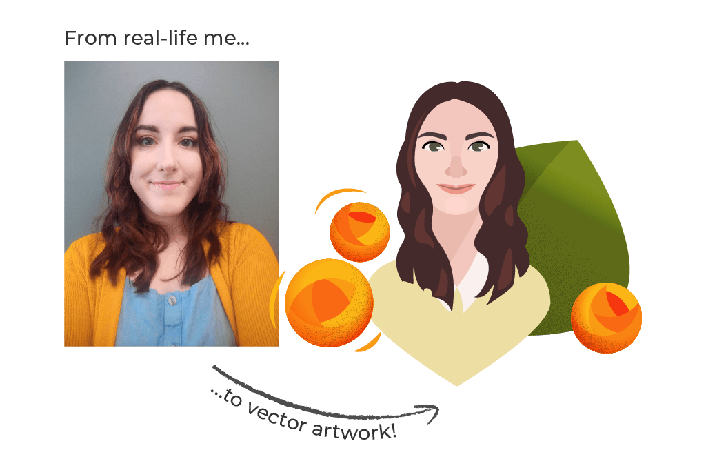 Graphic. From a photo of real-life me to my illustrated character.