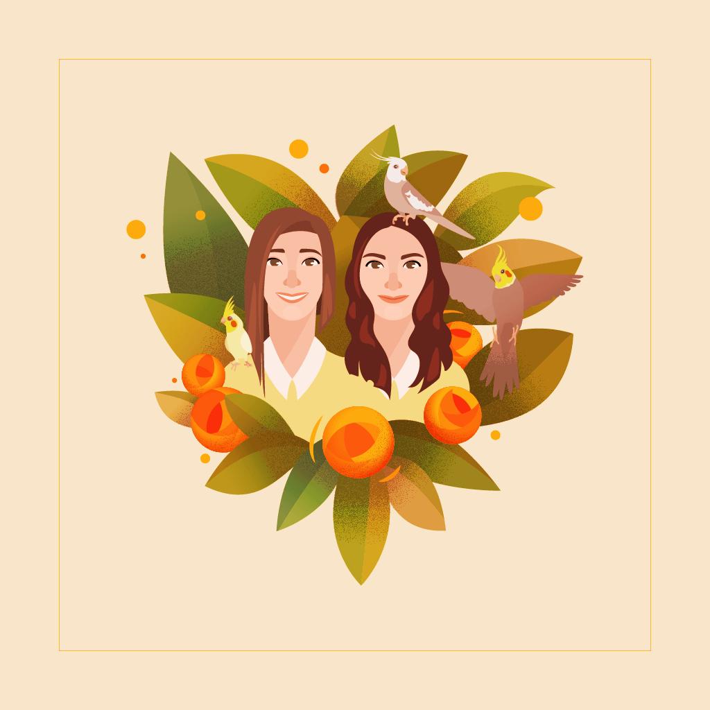 Finished Lee family illustration.