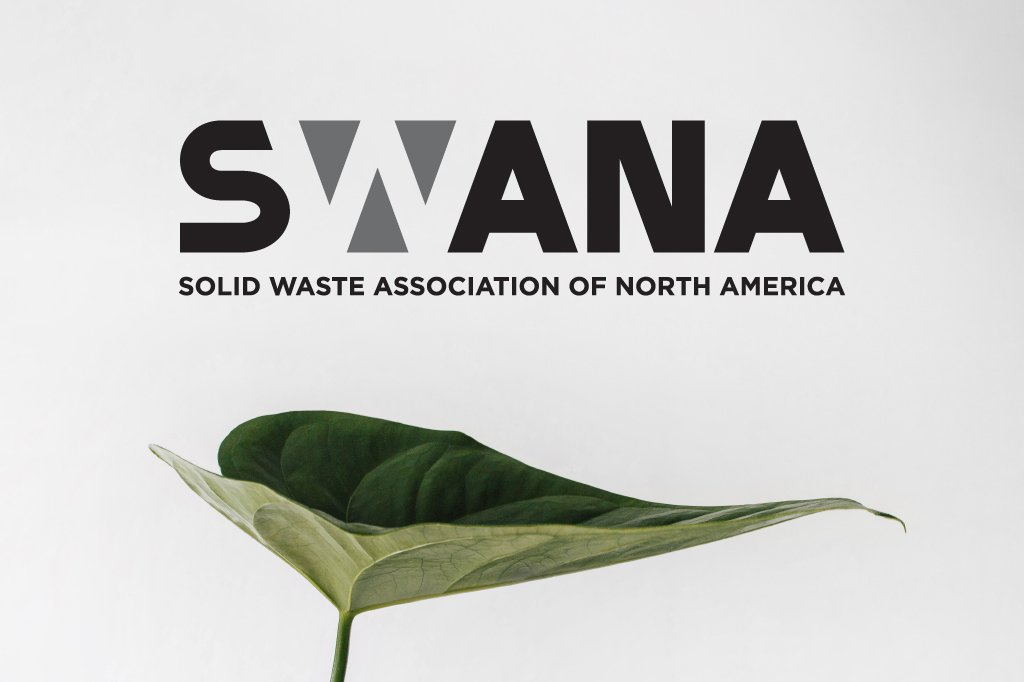 The SWANA logo design above a green leaf.