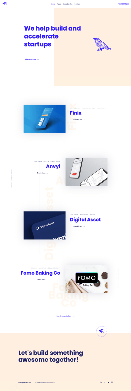 Screenshot. The minimalist website of 15 Finches accents a pale peach with a brilliant pop of blue. A few design elements also overlap, such as the page title typing right over the hero image, a style characteristic of the broken grid layout trend.