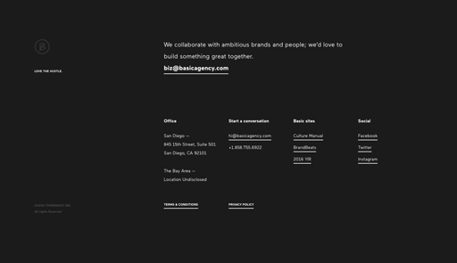 Screenshot. The footer of BASIC's website is an edgy white-on-text with plenty of negative space for breathability.