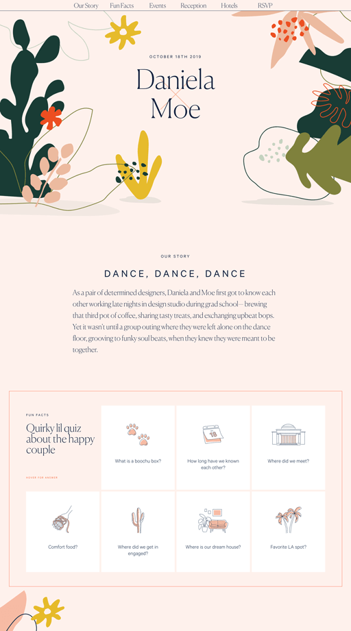 Screenshot. The wedding website for Daniela Covarrubias and Moe Amaya features abstract floral shapes, thin condensed serif fonts, and feminine pastel colors.