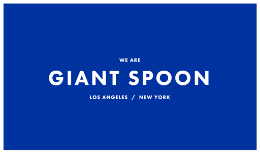 Screenshot. Giant Spoon home page with large, white sans-serif type on a blue background. Big type is an upcoming 2020 web design trend.