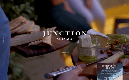Screenshot. The hero background videos for Australian restaurant Junction Moama showcase various attractions.