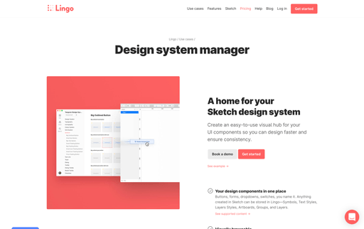 Screenshot. Lingo uses a split-screen that allows users to scroll through the features of their Design System Manager app while keeping app screenshots fixed to the left.