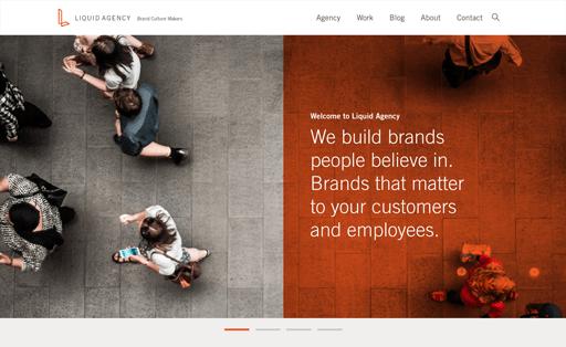 Screenshot. Liquid Agency opens with a split screen design.