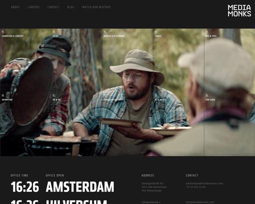 Screenshot. The Media Monks website opens with a split screen design that splits five-ways.