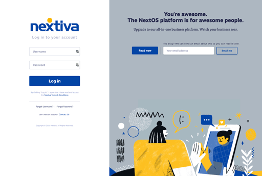 Screenshot. The Nextiva login screen illustrates two women high-fiving through a mobile video chat.