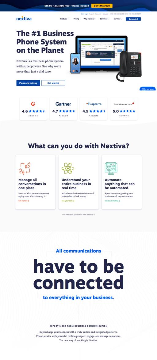 Screenshot. Nextiva's homepage uses large sans-serif type to make headlines pop.