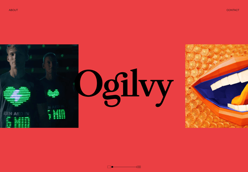Screenshot. The Oglivy homepage loads an animated slideshow....that runs horizontally. Horizontal scrolling one of the 2020 web design trends.