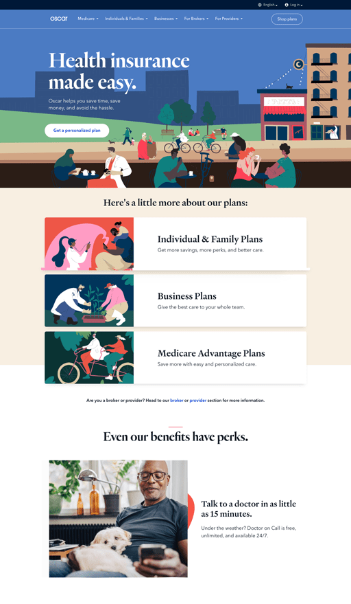 Screenshot. Oscar Health Insurance showcases several colorful people illustrations. They're friendly, organic, and have tiny heads compared to the rest of their bodies.