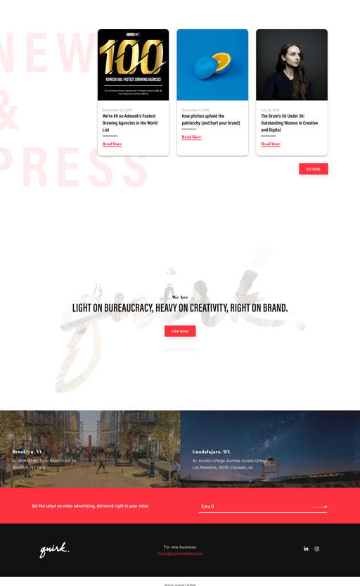 """Screenshot. A snapshot of the homepage web design for Quirk showcases another 2020 web design trend: background headlines, like """"News & Press"""" here."""