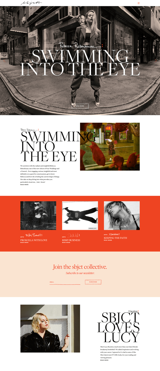 Screenshot. Bold and fashionable, the SBJCT Journal website design employs large, fashion photos with big serif type, and a simple red and peach color scheme.