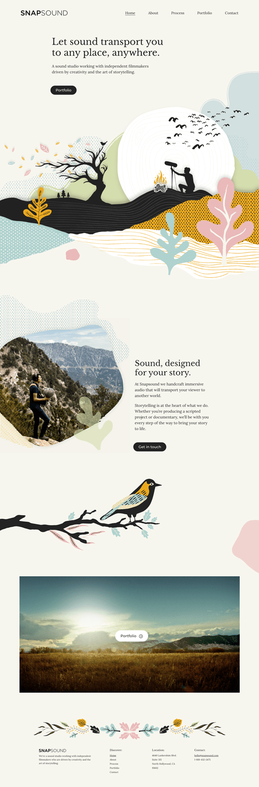 Screenshot. Hand-drawn illustrations form a collage to tell SNAPSOUND's story.