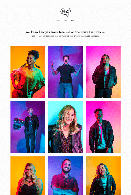 Screenshot. Colorful, gradient lighting and backgrounds make the team portraits of Taco Bell Design vibrant and fresh.