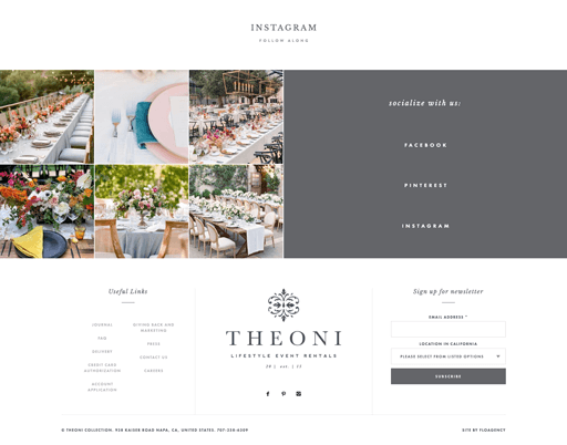 Screenshot. The white and airy footer of The Theoni Collection looks soft and feminine.