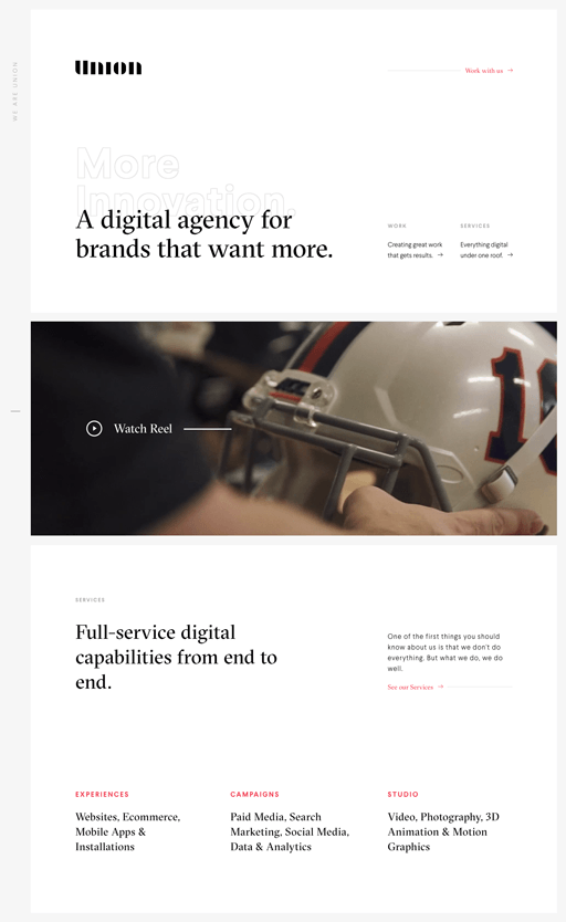 Screenshot. The website for Union uses several web design trends for 2020, such as background headlines and serif fonts.