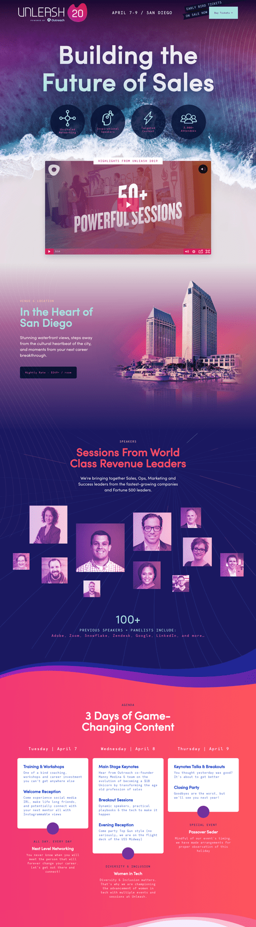 Screenshot. The colorful sales engagement conference website of Unleash 2020 repeats a purple-pink gradient through its logo, icons, backgrounds, and photos.