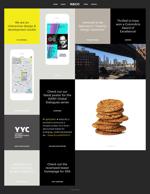 Screenshot. Gen Z Yellow appears as an accent to the otherwise monochrome website of W&Co.