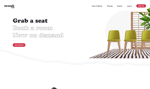 Screenshot. WeWork Now opens its website highlighting CTAs by filling in outlined headlines into solid black.