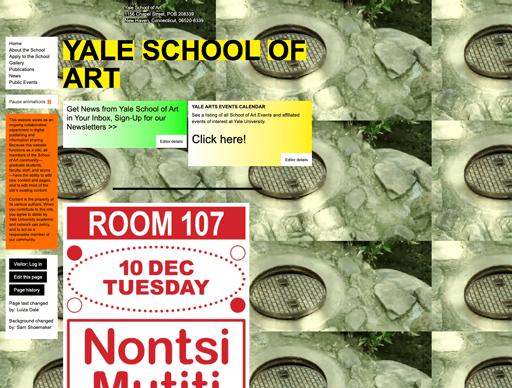 Screenshot. A site that's shamelessly brutalist is the Yale School of Art. In the background even plays the meme of the raccoon who didn't look what the world had to offer and returns underground, pulling the manhole cover behind him.
