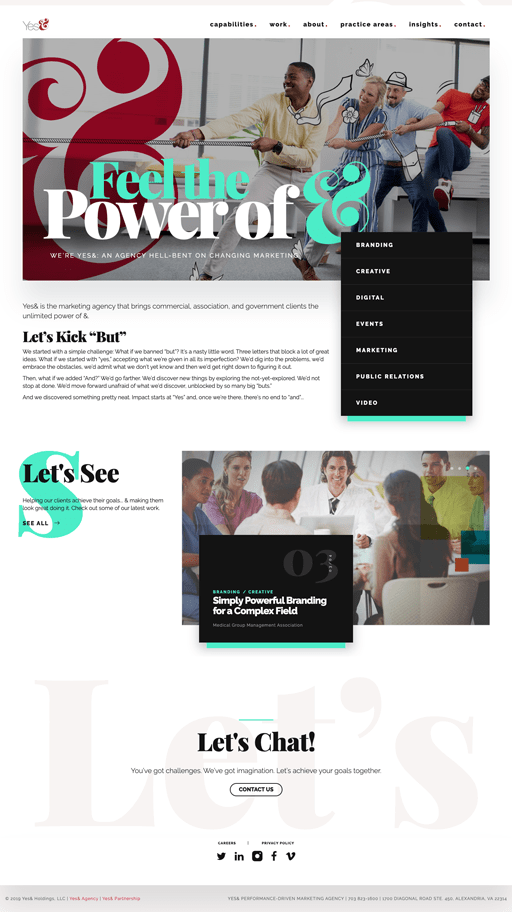 Screenshot. The website of Yes& features several 2020 web design trends, including big type, serif fonts, broken grid and overlapping elements, and background headlines.