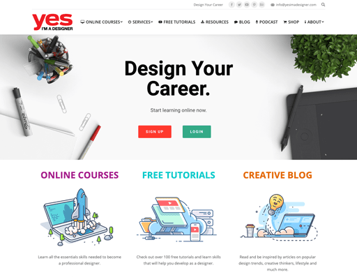Screenshot. Yes I'm a Designer's website illustrates its services with shaded monoline icons.