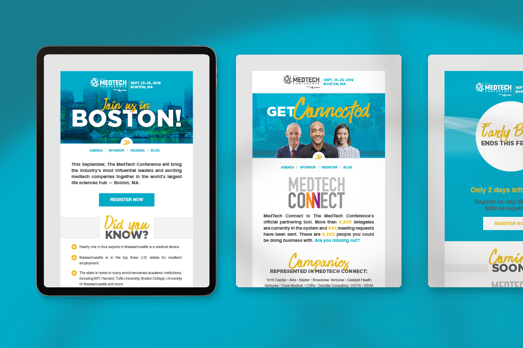 Feature image for award-winning MedTech Conference email campaign.