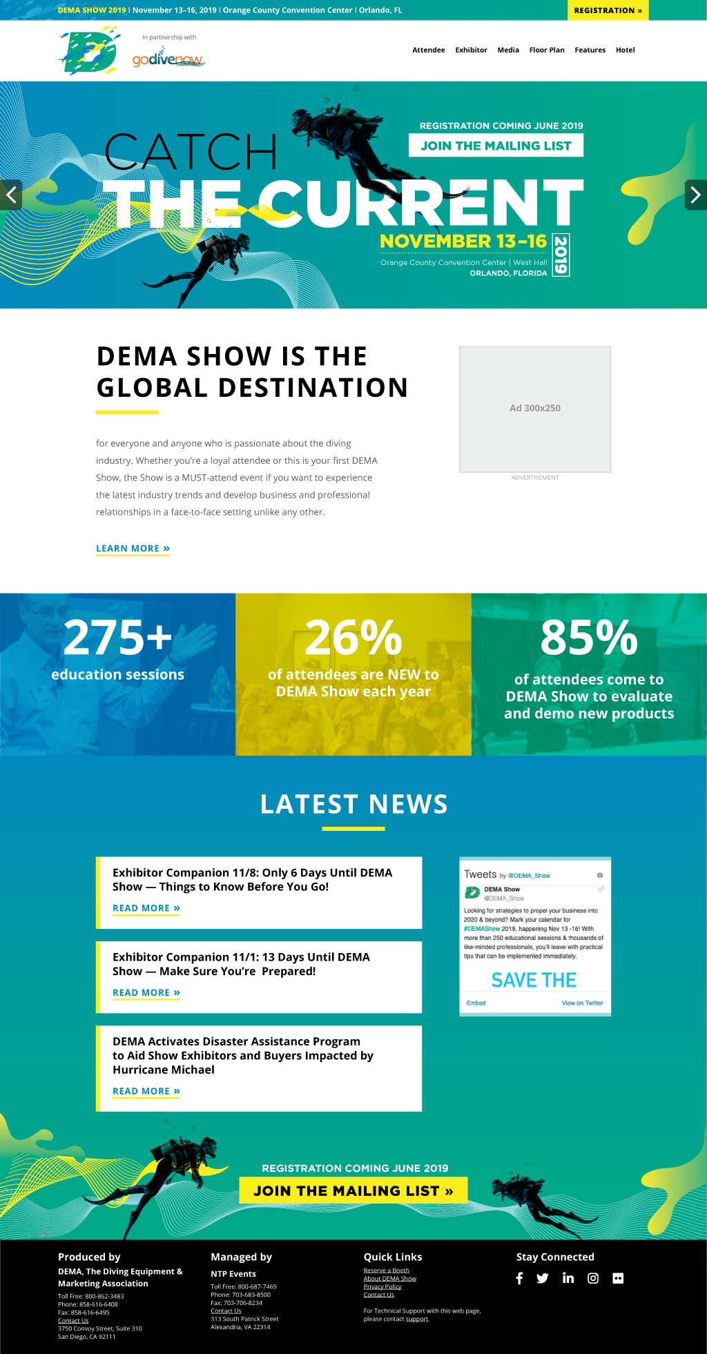 The final, high-fidelity wireframe and mock-up for the DEMA Show 2019 trade show website.