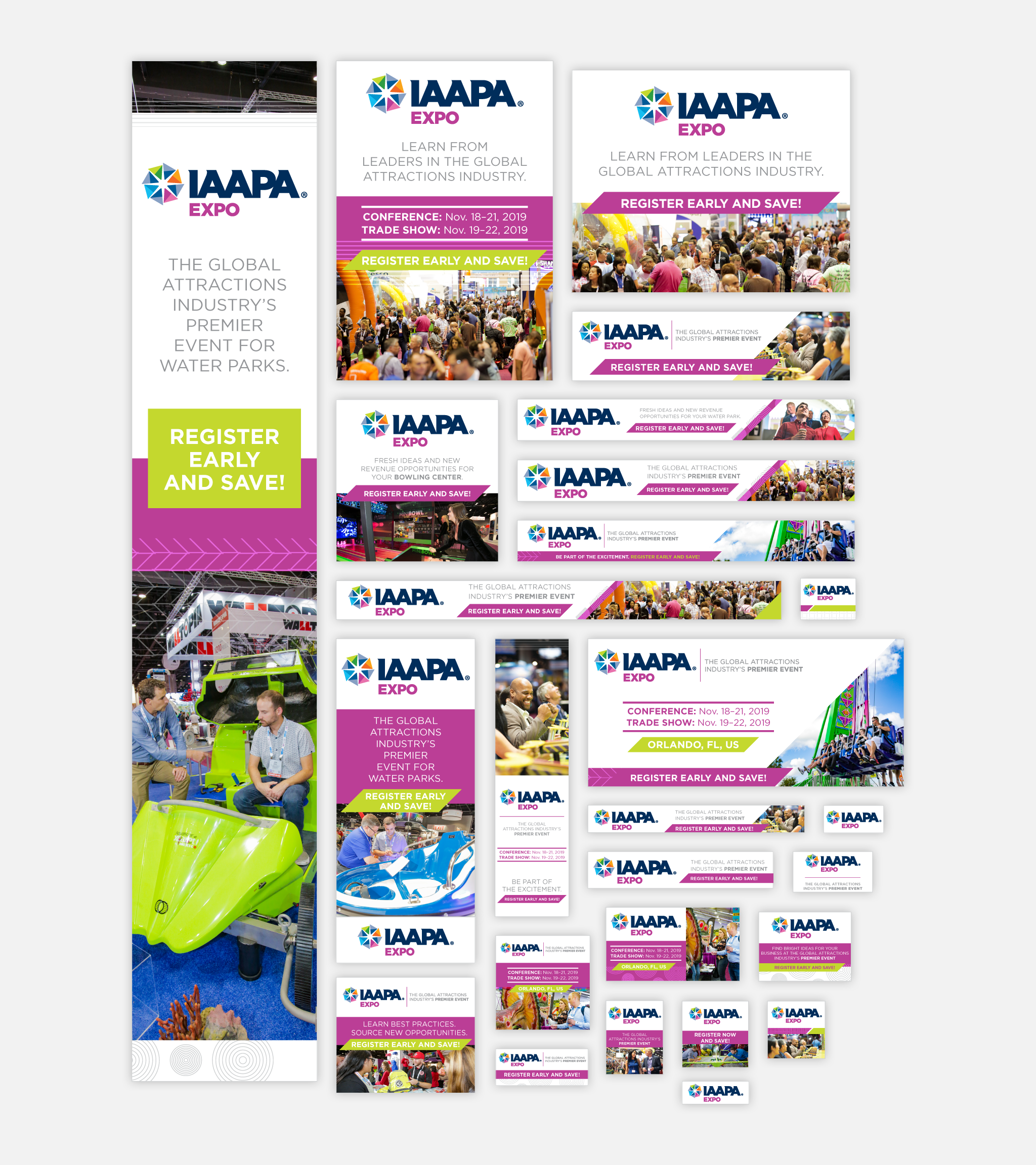 IAAPA Expo 2019's online advertising included several partnerships with trade publications, who shared these web ads online.