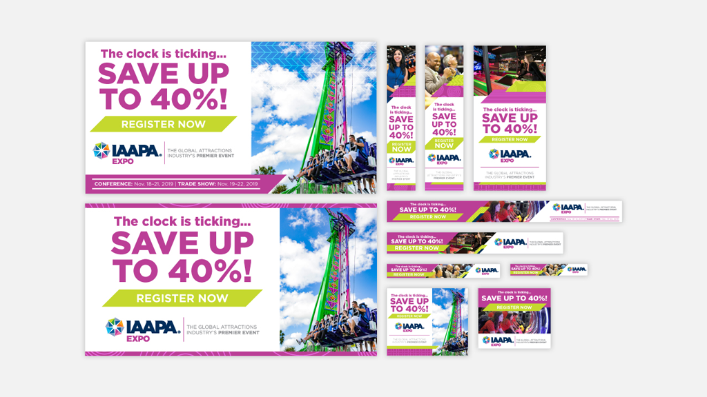 Online advertising for IAAPA Expo 2019 included several web ads pushing registration.
