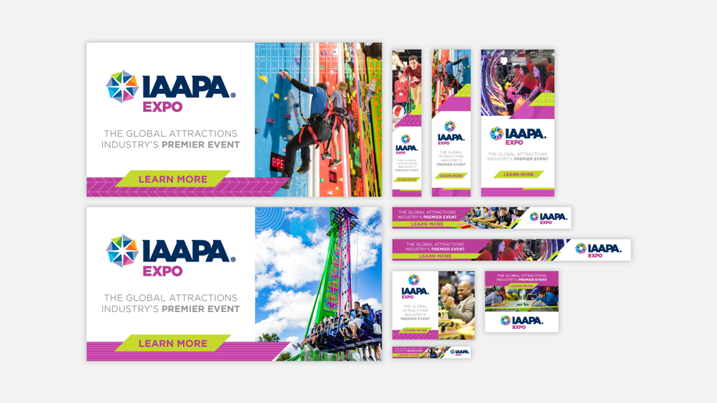 Mixed web ads highlight the core branding in online advertising for the IAAPA Expo 2019.
